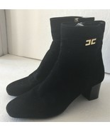 Vintage Bandolino Black Leather Gold Tone Buckle Zip Ankle Boots Booties... - $59.99