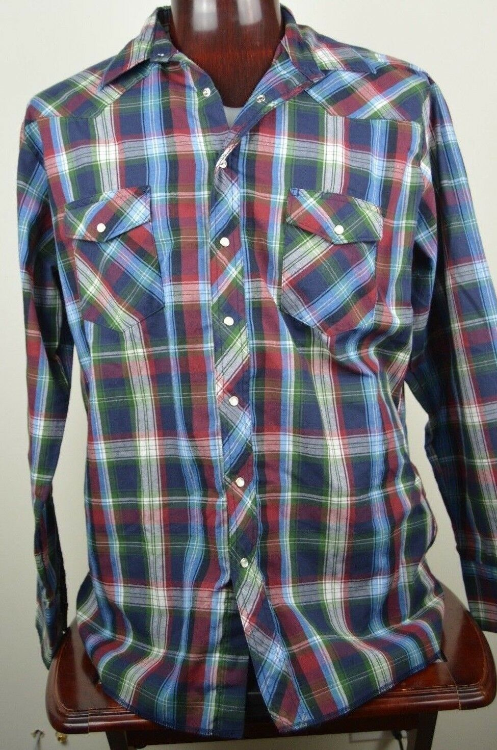 0461f52b 57. 57. Previous. Wrangler Western Shirt XL Mens Button Front plaid pearl  snap buttons flawed