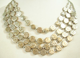 Hammered n Spiral Silver Discs 4 Strand Chains Necklace Choker Vintage E... - $13.85
