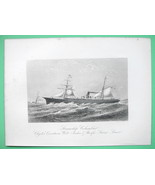 STEAMSHIP Columbus West Inida & Pacific Lines - 1876 Original Engraving ... - $26.01