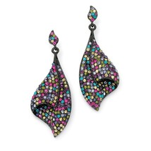 PalmBeach Jewelry Multi-Color Crystal Black Rhodium-Plated Fan Drop Earrings - $18.11