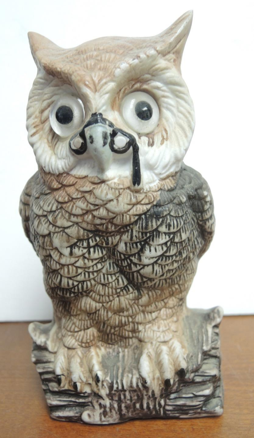 Vintage Ceramic Wise Old Bespectacled Owl Tea Light Lamp
