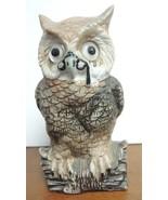 Vintage Ceramic Wise Old Bespectacled Owl Tea Light Lamp - $10.69
