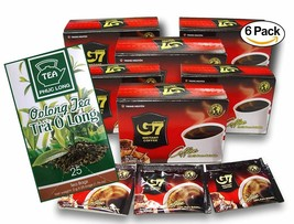 G7 Coffee Black Instant Vietnamese Coffee with Phuc Long Oolong Tea. 6-P... - $45.53