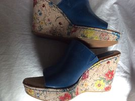 BORN CONCEPT WEDGE SANDALS M FLORAL BLUE 9 LEATHER O C B USxna4E