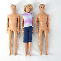 Ken Dolls Lot of 3 Male Barbie Blonde Rooted & Molded Hair  - $21.99
