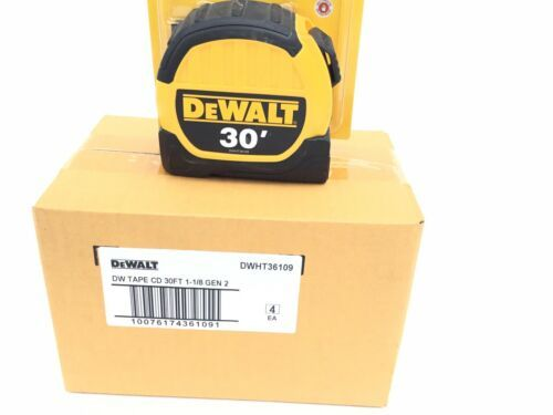 (NEW) Box Of (4) Four Dewalt 30' tape measures with 10' Standout (UNOPENED) - $78.39