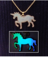 Magic UNICORN Glitter GLOW IN THE DARK Gold Horse Fantasy Charm Pendant ... - $16.10