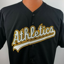 Oakland Athletics MLB Majestic Black Jersey Small Button Down Shirt Vintage - $49.49