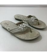 CLARKS Braided Leather Flower White Flip Flops Sandals Womens Size 7.5 - $43.61
