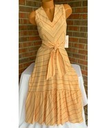 Calvin Klein Peach Striped Sleeveless Linen Blend Flare Maxi Dress Size:... - $49.01