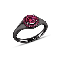 14k Black Gold Plated 925 Sterling Silver Round Cut Pink Sapphire Wedding Ring - $79.65