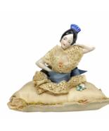 Antique German China Porcelain Senorita Half Doll Pin Cushion Arms Away - $74.24