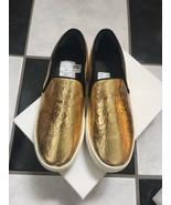 NIB 100% AUTH Celine Gold Cracked Leather Slip On Sneakers $810 Sz 38 - $498.00
