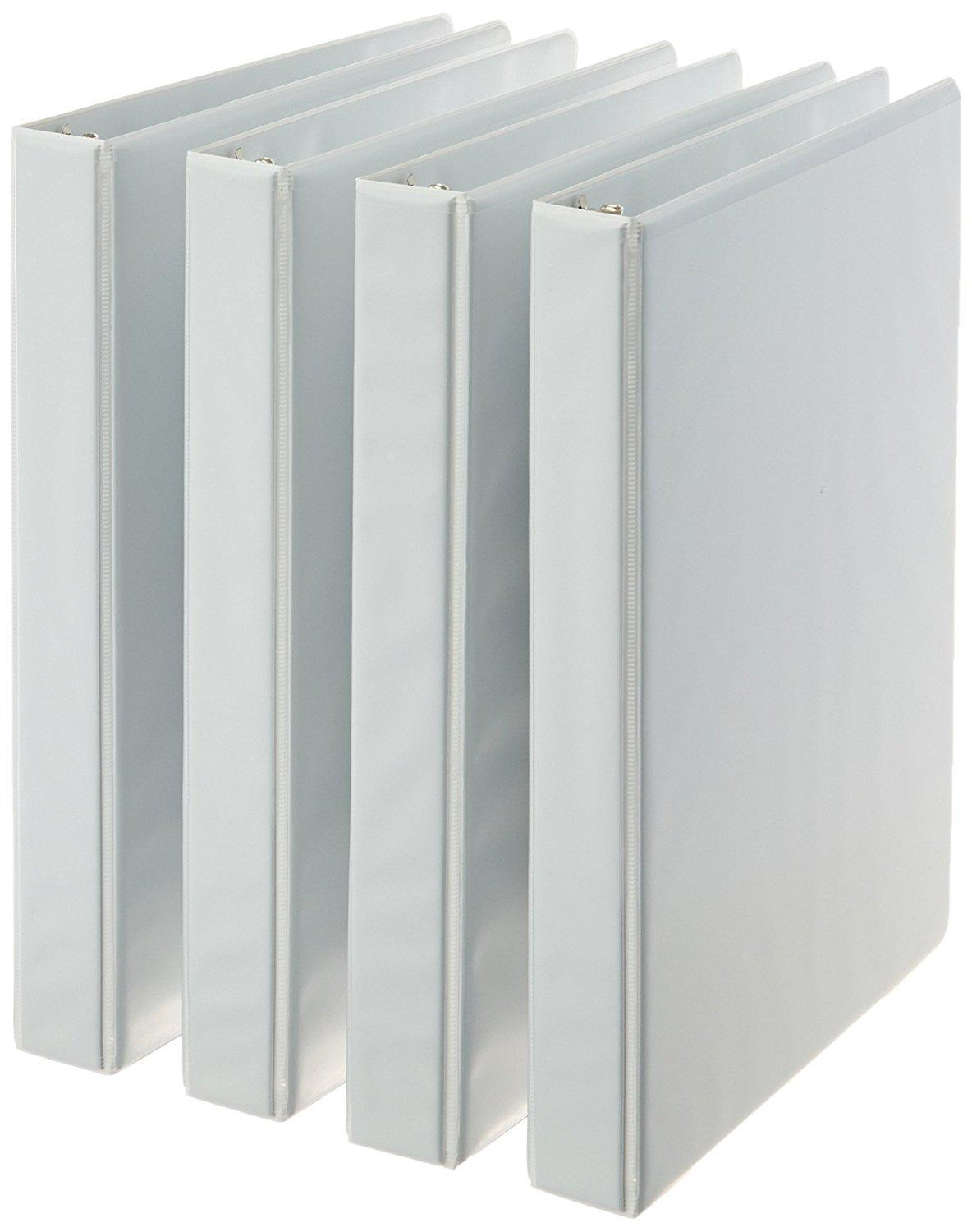 AmazonBasics 3-Ring Binder 1 Inch - 4-Pack (White) White 1-Inch