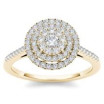 IGI Certified Genuine 14K Yellow Gold 0.33 Ct Diamond Cluster Engagement... - $519.99