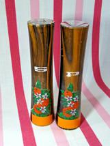 Vintage Florida Souvenir Tiger Wood Tower Salt & Pepper Shakers Orange G... - $5.00