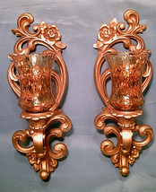 """VINTAGE HOMCO Gold Wall Hanging w/ Amber Glass Candle Holder Sconces 15""""... - $45.00"""