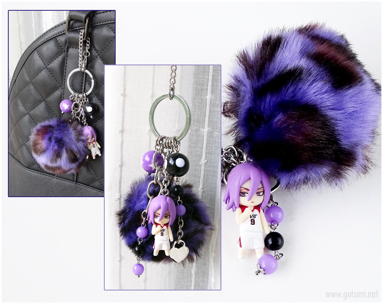 Murasakibara Atsushi Beaded Keychain, Bag Charm, Pastel Goth, Anime, Kawaii
