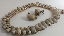 Vintage Stunning Graduating Olivella Sea Shells and Pearls Necklace Earr... - €24,35 EUR