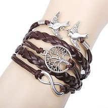 Personalized Women's Charm Bracelet w/Leather Infinity Love - 1x Chosen Randomly