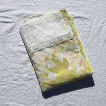 Vintage Twin Flat Sheet Green Yellow Peach Floral with Lace Springmaid - $12.59