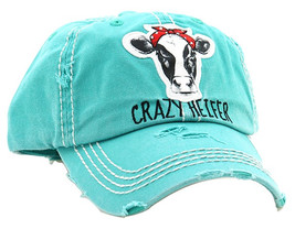 Distressed Vintage Style Crazy Heifer Cow Country Hat Baseball Cap Farmhouse image 2