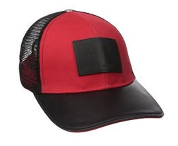 Armani Exchange AIX Logo Patch Trucker Hat Cap in Pappy Red BNWT - $49.75