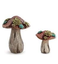 Succulent Mushrooms Natural Brown 12 x 9 Resin Stone Figurines Set of 2 - $64.01