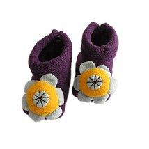 Baby Handmade Shoes Floral Winter Soft Sock Toddler Keepsake Gift 11cm Purple