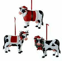 Kurt Adler Set Of 3 Hand Painted Resin Christmas Dairy Cow Christmas Ornaments - $24.88
