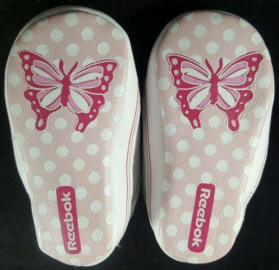 Infant Baby Girls Reebok Butterfly White Pink Crib Shoes Size 1 Newborn NB 3M