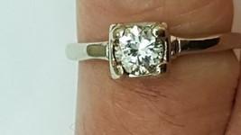 Vintage Unique 14K White Gold Engagement Ring: .50ct Brilliant Cut Diamo... - $1,633.50