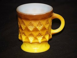 Vintage Anchor Hocking Fire King Kimberly Yellow Cup Mug Milk Glass Diamond MCM - $12.86