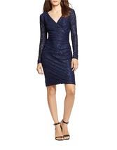 Lauren Ralph Lauren Women's Sz 12P Sequined Lace Surplice Navy Dress 2935-3 - $46.27