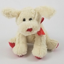 "2017 Animal Adventure White Puppy Dog Plush Red Heart Bow Stuffed Animal 8"" - $9.64"