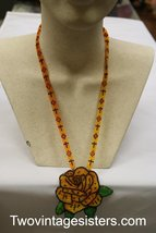 Beaded Floral Necklace Orange Flower - $29.99