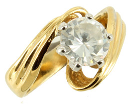 Vintage 18K GE .62CT Paste Rhinestone Solitaire Wave Design Ring 1970's ... - $87.74