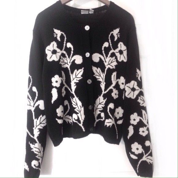 J.G. Hook Ladies Women's Vintage Black & White Floral Cardigan Sweater Large EUC