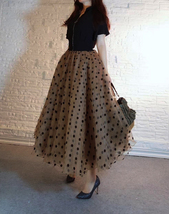 Full Long Tulle Skirt High Waisted Polka Dot Tulle Skirt Outfit Plus Size Puffy image 4