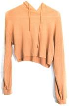 Forever 21 Terra Cotta Orange Raw Hem Cropped Long Sleeve Hooded Top Size S image 1
