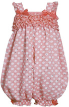 Bonnie Jean Baby Girl 3M-24M Spangle Polka Dot Chiffon Ruffle Romper, Coral