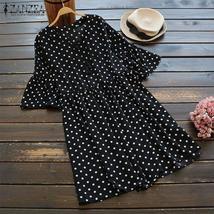 ZANZEA Women Polka Dot Printed Shirt Lace Up Ruffles Blusas Short Sleeve Blouse  - $34.00+