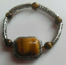 Vintage Tiger Eye & Silver-tone Filigree Stretch Bracelet  - $38.61