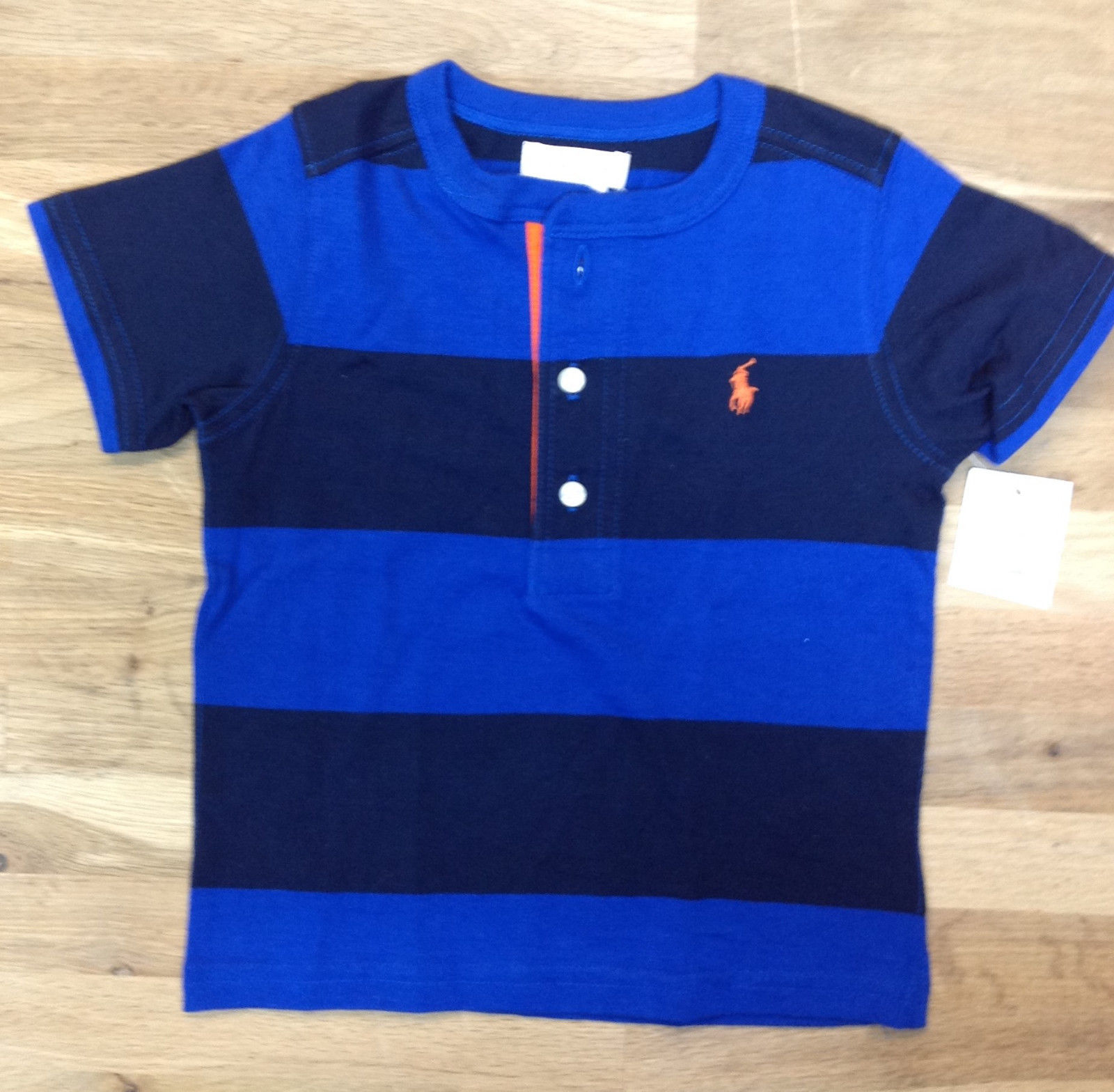Primary image for Ralph Lauren Boys' Bold-Striped Henley T-Shirt, Navy/Blue, Size 18 M, MSRP $35