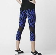 Nike Epic Lux Palma Capri SMALL S Blu Nero Rete Leggings Pantalone Corto - $35.99