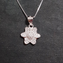 New 14k White Gold On 925 Child Flower Pendant Charm - $28.60