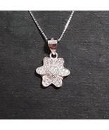 New 14k White Gold On 925 Child Flower Pendant Charm - $28.60