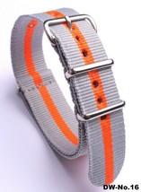 22mm X 255mm Nato Canvas Nylon wrist watch Band strap LIGHT GREY ORANGE - $15.52