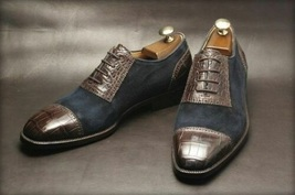 Handmade Men's Chocolate Brown Leather & Blue Suede Two Tone Oxford Shoes image 3